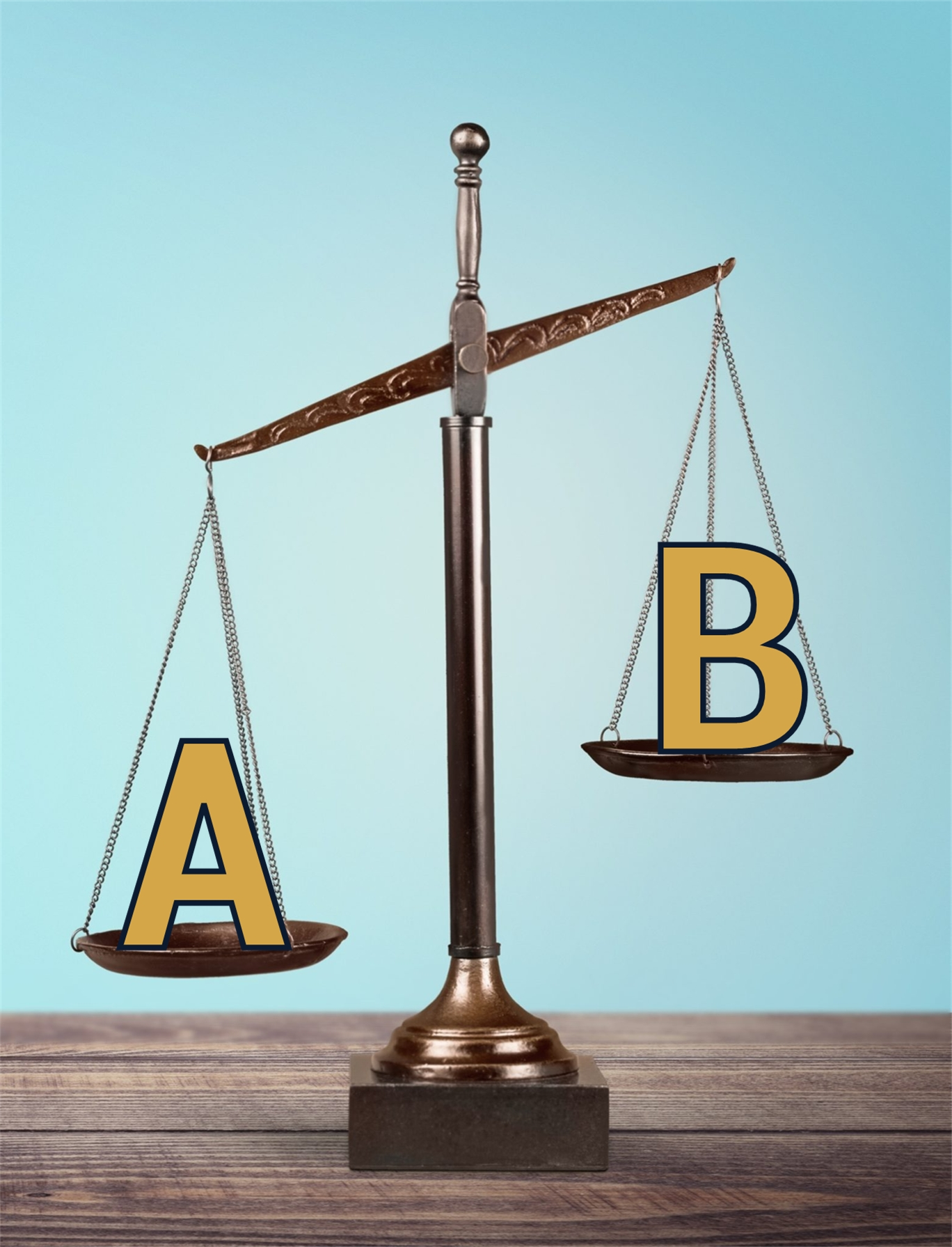Balance scale with A and B. Weight your options for real estate agent or private home sale