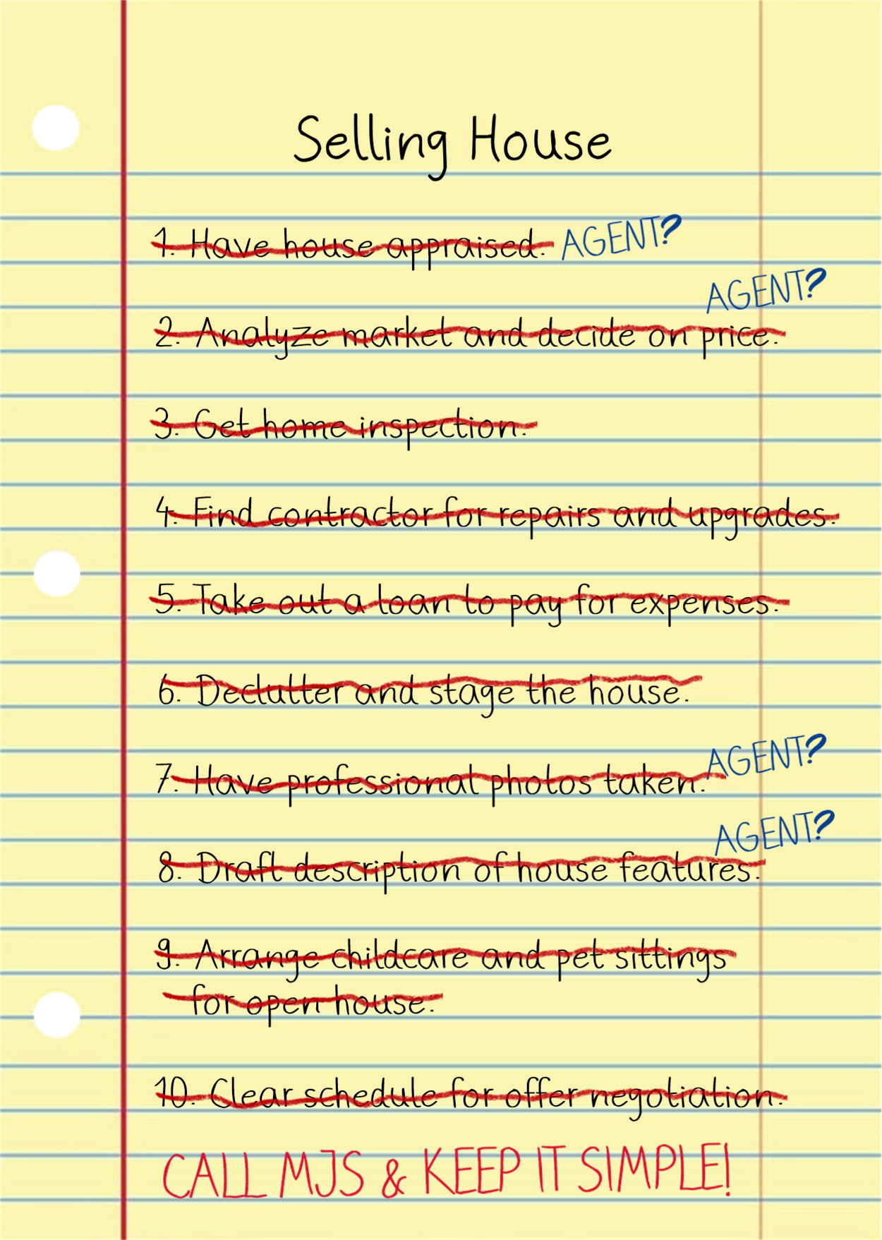Yellow lined paper with a to-do list crossed out and leads to an easy private home sale with MJS Properties