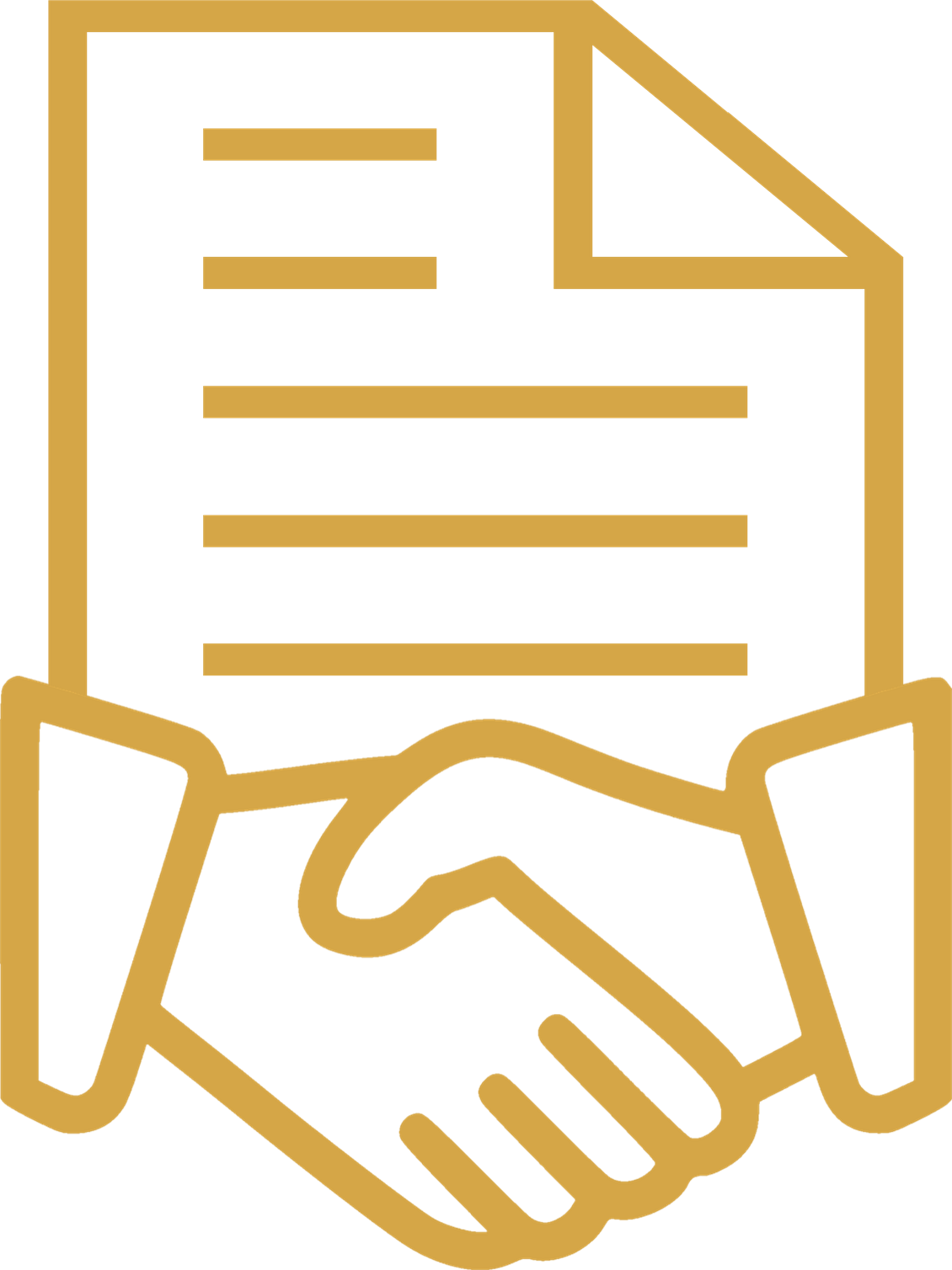 Agreement icon with shaking hands. Review Offers, Negotiate Details, and Close the house Sale