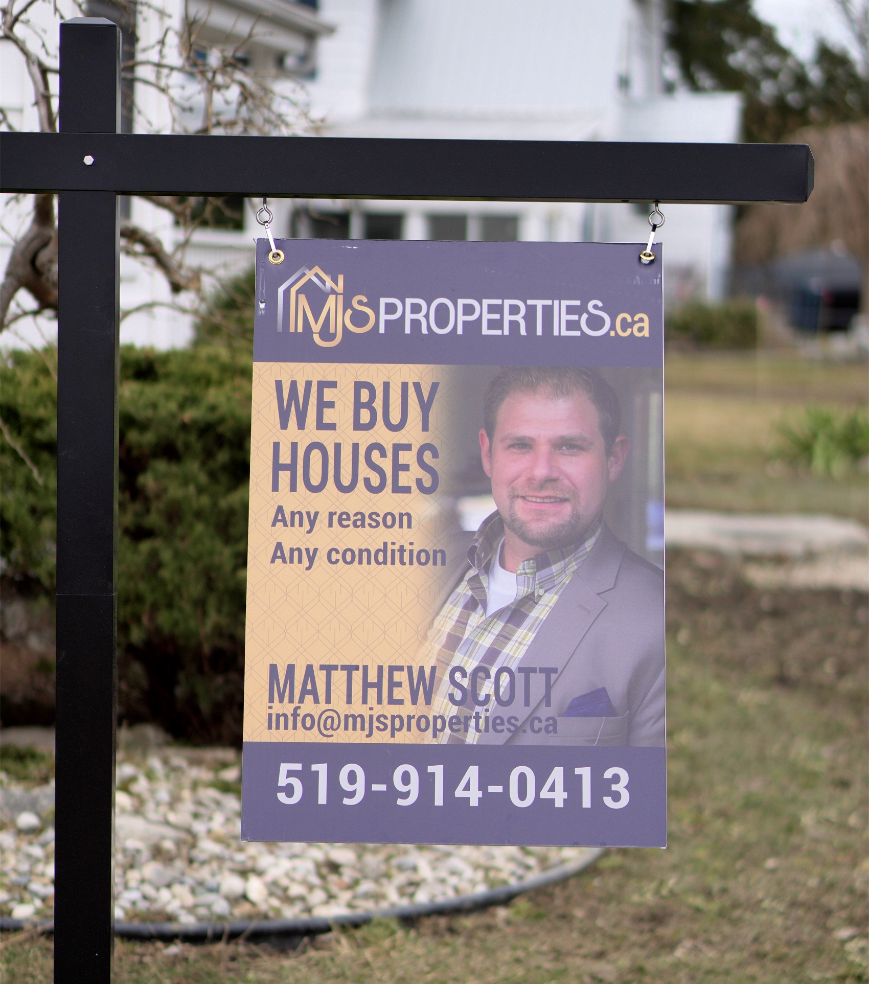 """Alternatives For Selling Your Home with MJS Properties Real Estate Sign """"We Buy Houses - any reason any condition"""""""