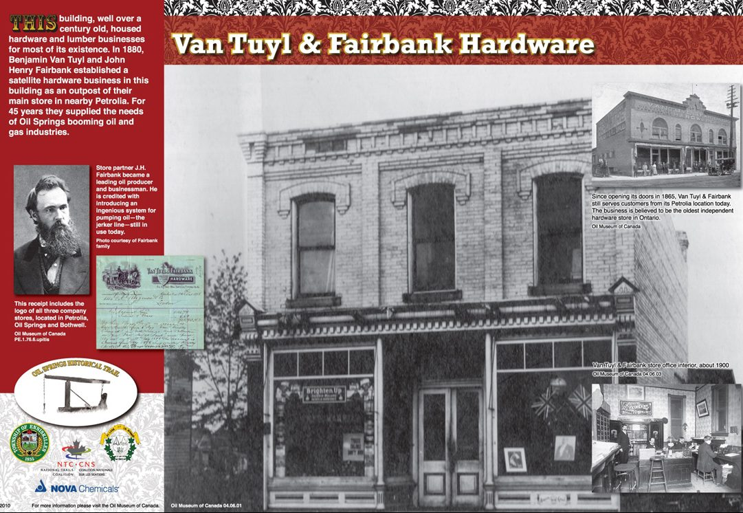 Oil Springs historical plaque of Van Tuyl and Fairbank Hardware
