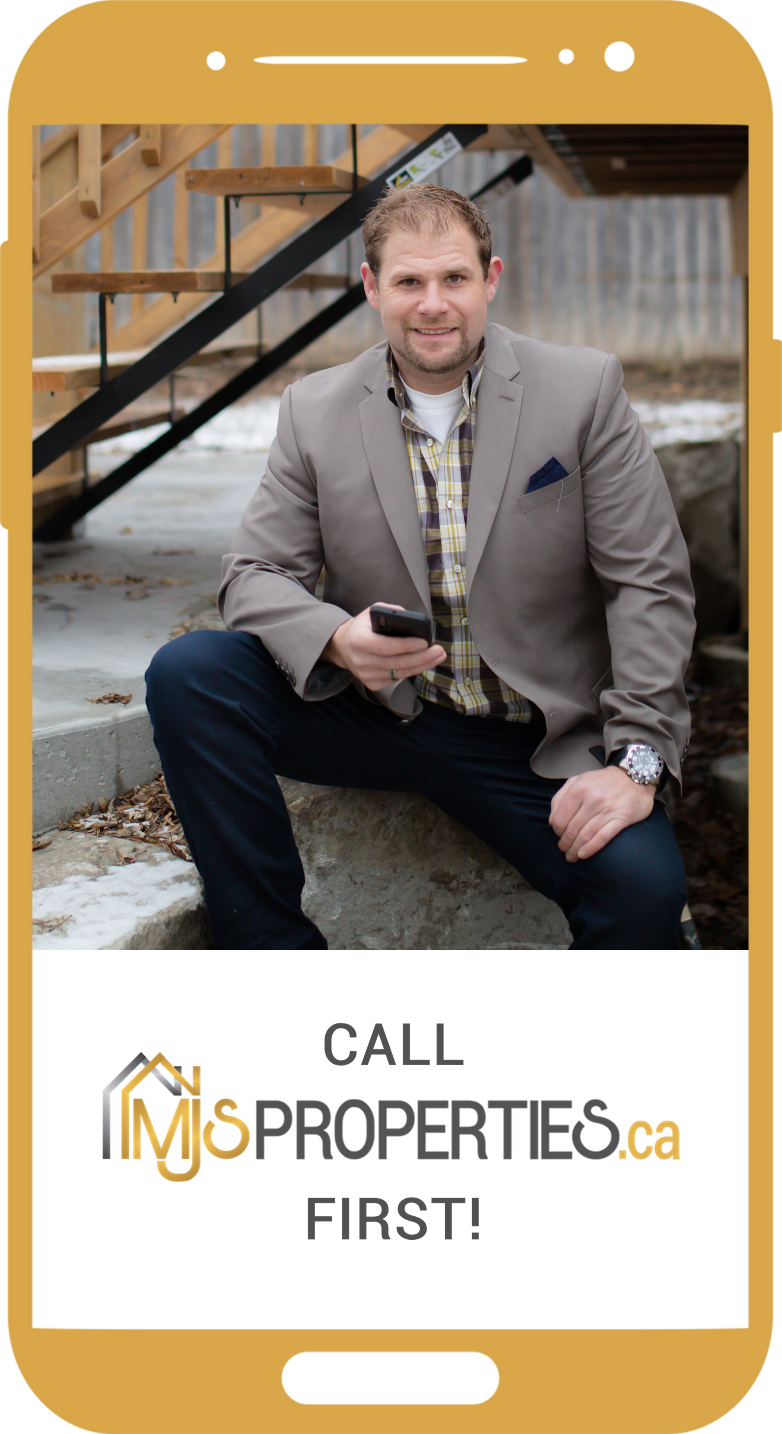 """Mobile device with the screen showing image of Matt Scott waiting for your call with the words """"Call MJS Properties First"""""""