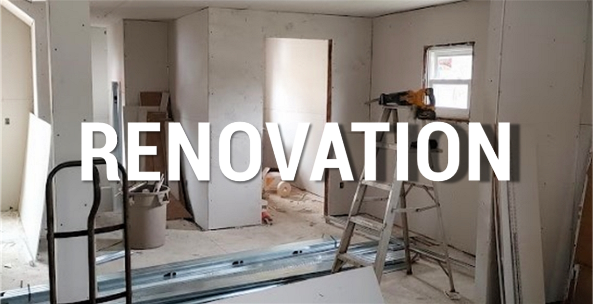 Word Renovation over image of room ready to be painted with ladder, tools, garbage can, pieces of drywall, metal framing materials