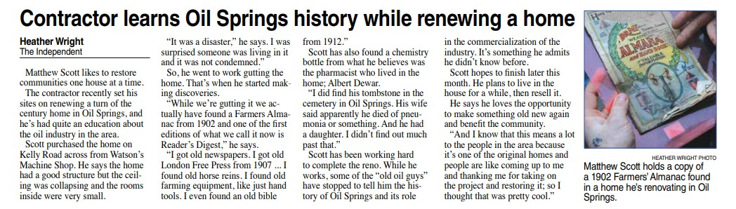 Newspaper clipping of The Independent interview of Matt Scott while house flipping in small town Oil Springs