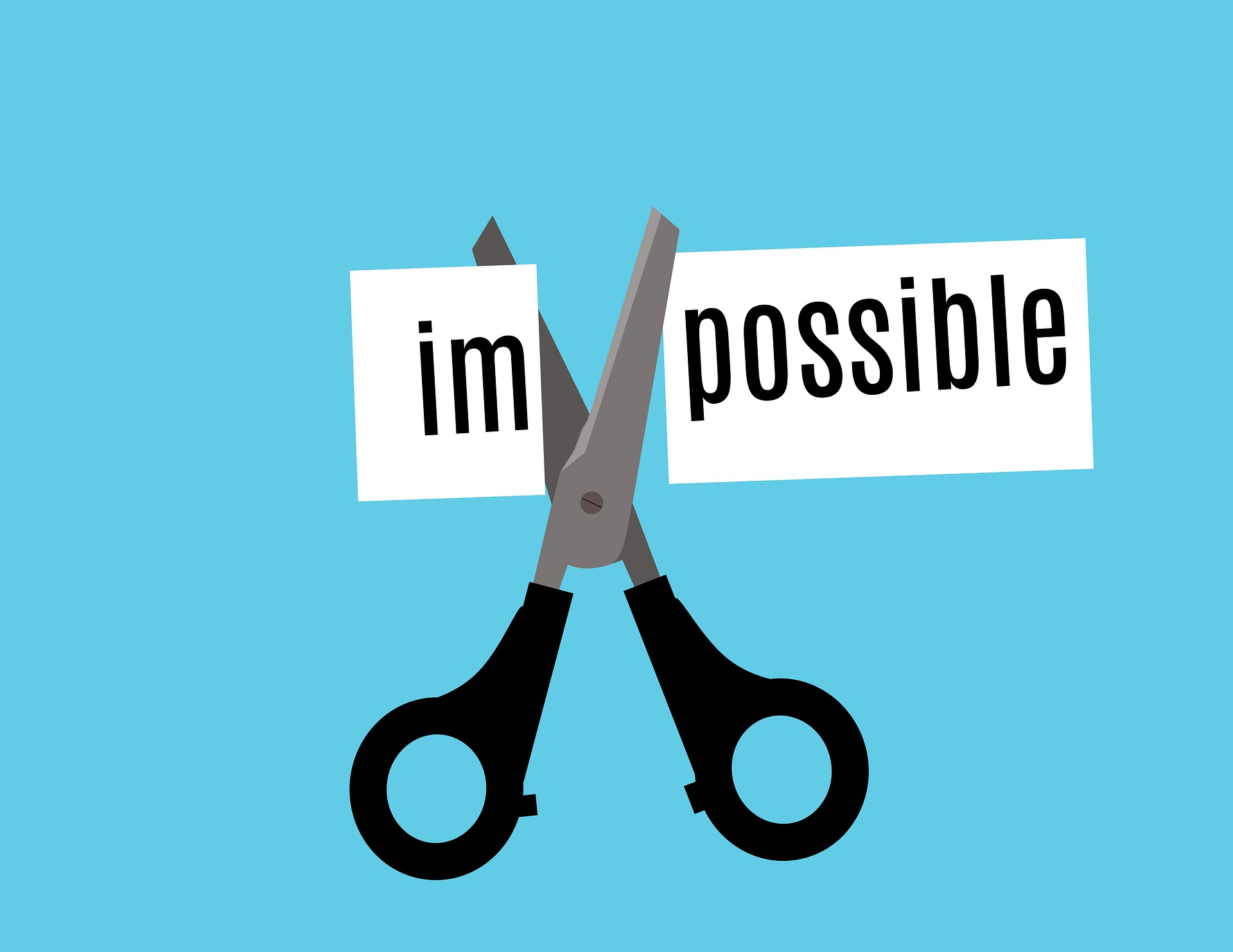 Alternatives For Selling Your Home with MJS Properties Making the impossible possible. Pair of scissors cutting im off of word impossible to make it possible